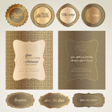 Tarjetas y elementos de la invitación de la boda Imagenes de archivo
