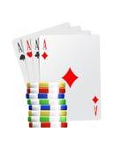 Tarjetas y monedas del póker del as Foto de archivo