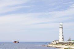 Tarkhankut lighthouse royalty free stock photography