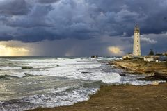 Tarkhankut lighthouse. Lighthouse on the same cape, which is the western part of Crimea Royalty Free Stock Photos