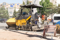 Tarmac Laying Workers Stock Photo