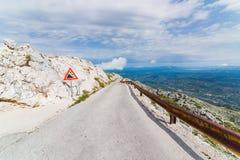 Tarmac mountain road. On sveti Jure mountain. Dalmatia, Croatia stock photos