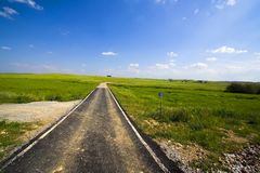 Tarmac path crossing fields. Tarmac path crossing rural fields in a beautiful summer day with blue sky and puffy white clouds Royalty Free Stock Photos