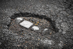 Tarmac road with big holes in Belgium Royalty Free Stock Photography