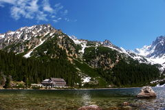 Tarn. Mountain lake in slovakia mountain with tourist cottage stock photo