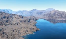Tarn. Classic rocky lakeside at haze vector illustration