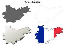 Tarn-et-Garonne, Midi-Pyrenees outline map set. Tarn-et-Garonne, Midi-Pyrenees blank detailed outline map set stock illustration