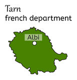 Tarn french department map. On white in vector stock illustration