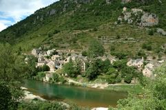 Tarn Gorges - Picturesque Hamlet. Hamlet of Haute-Rives on the left bank of the River Tarn at the foot of the Mejean causse in the Tarn Gorges near Sainte-Enimie Stock Image