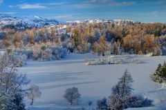 Tarn Hows in Winter 1 Stock Photos
