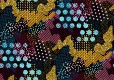 Tarnen Sie nahtloses Muster in die Schatten von rosa, gelb, Goldfunkeln, Blau, schwarze Farben Memphis-Art Stockfoto