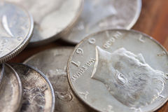 Tarnish Silver Coins. Silver half dollars in a pile Stock Photo