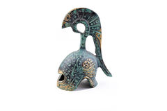 Tarnished bronze ancient greek helmet souvenir Stock Photos
