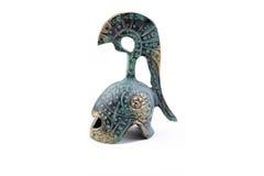 Tarnished bronze ancient greek helmet souvenir Stock Photos