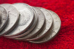 Tarnished Silver Coins Royalty Free Stock Images