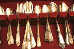 Tarnished silverware Stock Image
