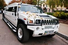 Tarnopol,乌克兰- 2016年10月09日:白色豪华大型高级轿车嗡嗡声 免版税图库摄影