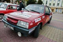 Tarnopol, de Oekraïne - Oktober 09, 2016: Rode VAZ 2108 Stock Foto's