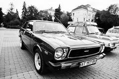 Tarnopol Ukraina - Oktober 09, 2016: Klassisk retro bil Corolla arkivfoto