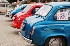 Tarnopol, Ukraine - October 09, 2016: Row of classic retro cars Royalty Free Stock Images