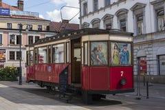 Tarnow,波兰-电车咖啡馆 库存照片