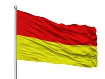 Tarnowskie Gory City Flag On Flagpole, Polonia, isolata su fondo bianco illustrazione di stock