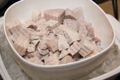 Taro boil on white dish. Close-up of taro boil on white dish stock photo