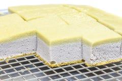 Taro Chiffon Cake med Taro Thai Custard arkivfoton