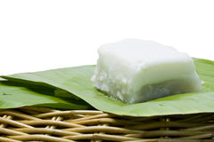 Taro custard on banana leaf   Stock Photography