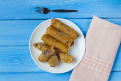 Taro fried spring roll. Cambodia and thai style food Stock Photography