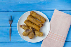 Taro fried spring roll. Cambodia and thai style food Royalty Free Stock Image