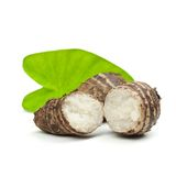 Taro root. Isolated on white background Stock Photos