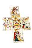 Tarock-Karten dargelegt in fünf verbreitet stockfoto