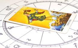 Tarock und Astrologie Dummkopfkarte auf einem astro Diagramm stockfoto
