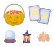 Tarokkort, ferie halloween, trollkarl i en hatt, kristallkula Svartvita symboler för magiuppsättningsamling i tecknad film vektor illustrationer