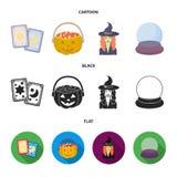 Tarokkort, ferie halloween, trollkarl i en hatt, kristallkula Svartvita symboler för magiuppsättningsamling i tecknad film stock illustrationer
