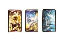 Tarokkort på vit bakgrund Kvanttarokdäck esoterisk bakgrund Fotografering för Bildbyråer