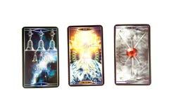 Tarokkort på vit bakgrund Kvanttarokdäck esoterisk bakgrund Royaltyfria Foton