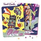 Tarokkortdäck royaltyfri illustrationer