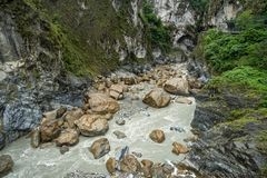 Taroko Gorge National Park in Taiwan. Beautiful Rocky Marble Canyon with Dangerous Cliffs and River stock photo