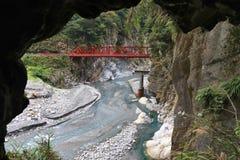 Taroko Gorge, Taiwan. Taroko National Park in Taiwan. Zangchun Bridge over Taroko Gorge stock photo