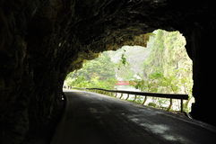 Taroko gorge, Taiwan. Road tunnel and hiking trail Royalty Free Stock Image