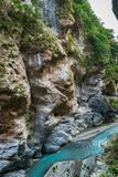 Taroko national park canyon landscape in Hualien, Taiwan. Natural canyon and river view of Swallow Grotto Yanzikou hiking trail stock images