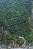 Taroko National Park in Hualien County, Taiwan Evergreen Falls and Changchun Temple Stock Images