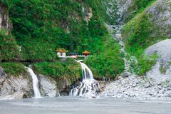 Taroko shrine in the good day. Shrine and waterfall in the good weather day, TAROKO, TAIWAN - 2015 royalty free stock photos