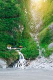 Taroko shrine in the good day. Shrine and waterfall in the good weather day, TAROKO, TAIWAN - 2015 royalty free stock photo