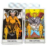 Tarot Birth Card Devil / Lovers. Self-determined vs. Relationship-oriented Self-expressive vs. Cooperative creative effort Self-important vs. What`s best for vector illustration