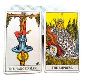 Tarot Birth Card Hanged Man / Empress. Spiritual vs. Physical Detached vs. Involved, Abstract vs. Specific royalty free illustration