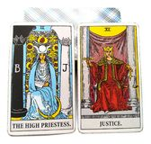 Tarot Birth Card High Priestess Justice. Analytical/ Contemplative, Harsh/Gentle, Loud/ Silent royalty free illustration