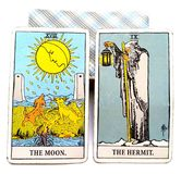 Tarot Birth Card Moon / Hermit. The importance of night vs. The importance of day The importance of pain / pleasure; beauty / ugliness vs. The importance of vector illustration